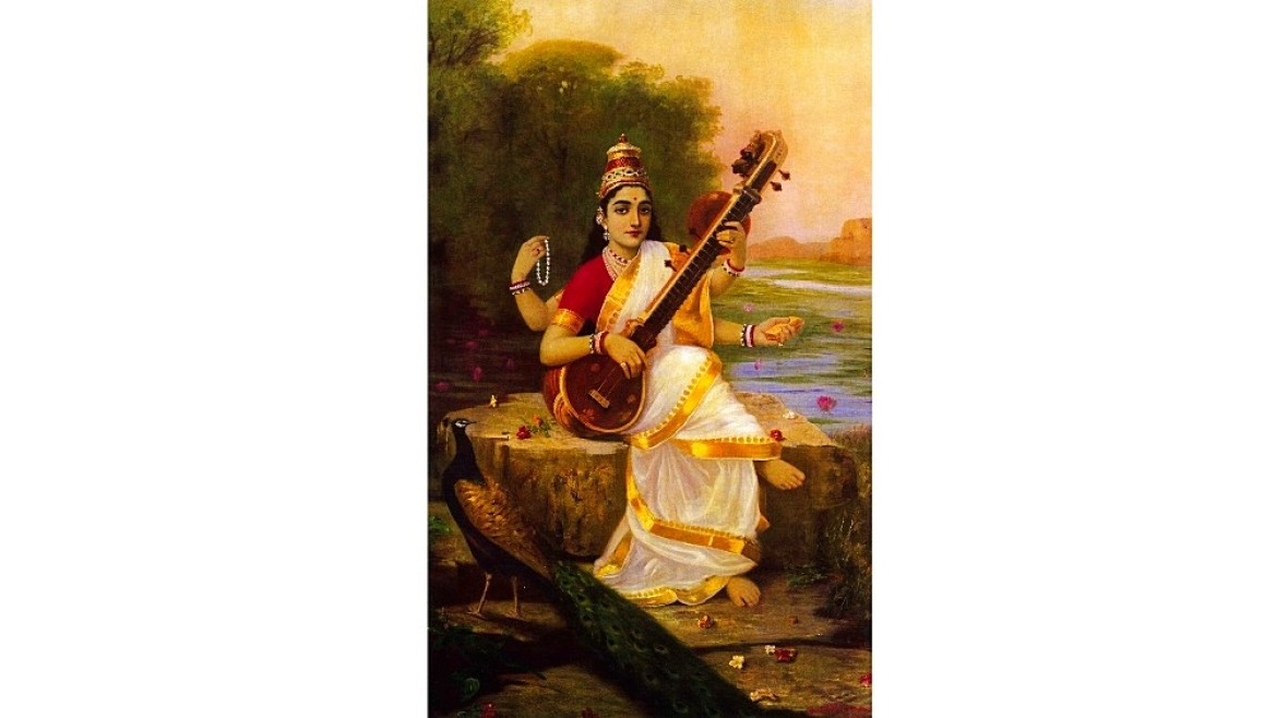 Painting of goddess Saraswati by Raja Ravi Varma