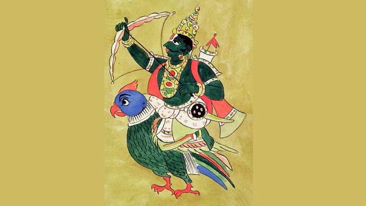 Kamadeva, sitting on a parrot