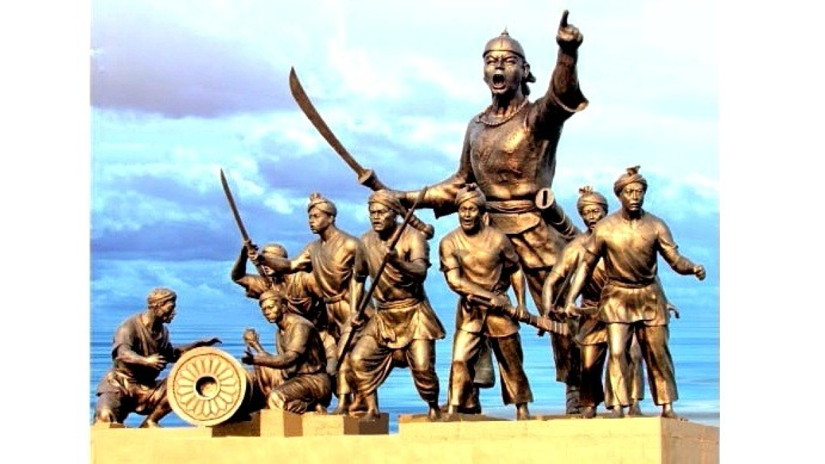 Statue of Lachit Borphukan with his army erected in the middle of river Brahmaputra
