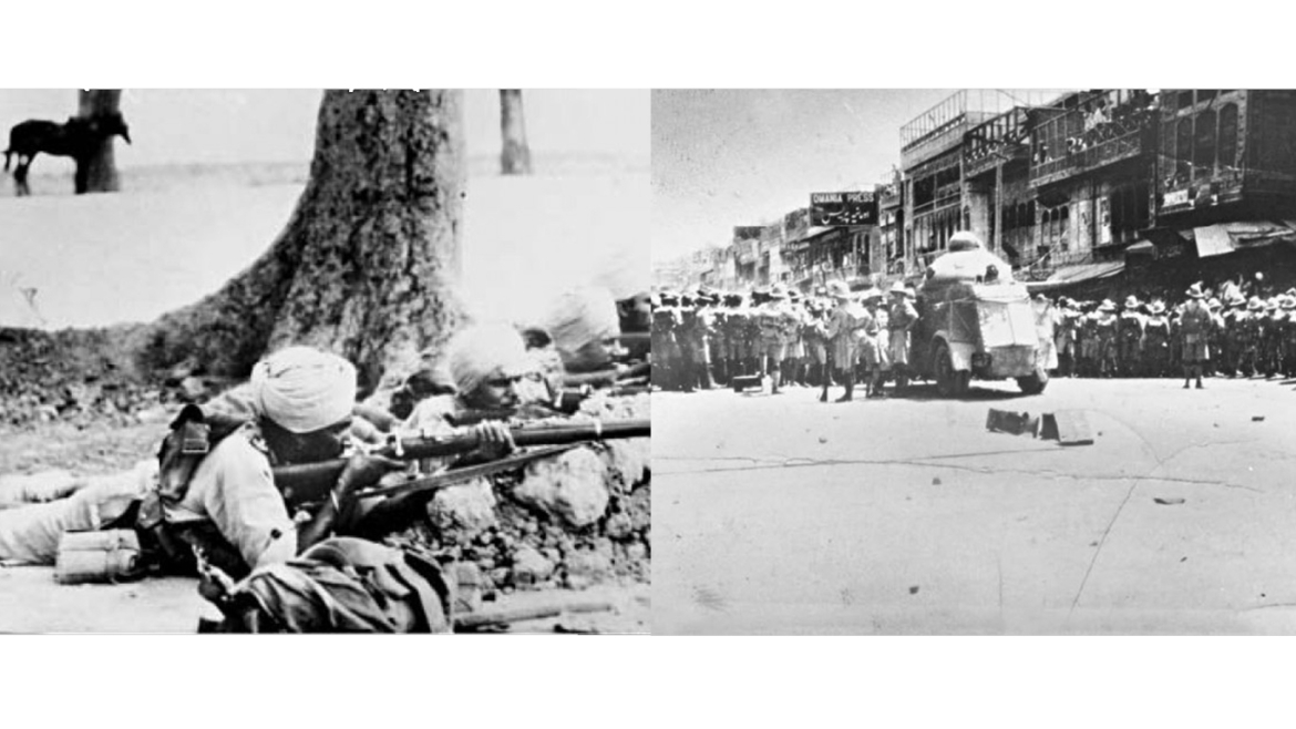British Indian troops demonstrations in Peshawar during the Qissa Khwani Bazaar massacre