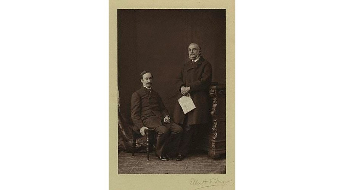 Sir John Strachey (L) with Richard Strachey (R)