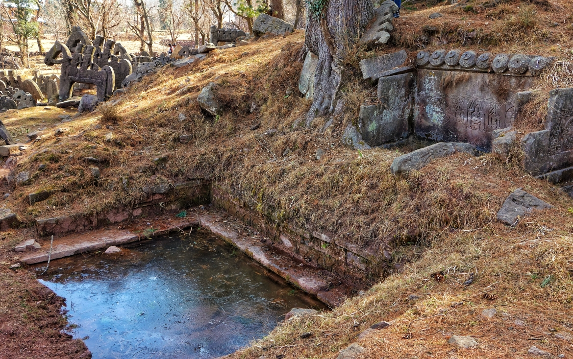 A semi frozen pond on the site fed by a natural spring