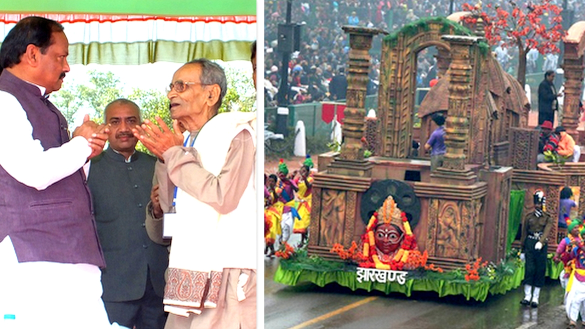 CM Raghubir Das with Gopaldas Mukherjee and Republic Day Parade Tableau