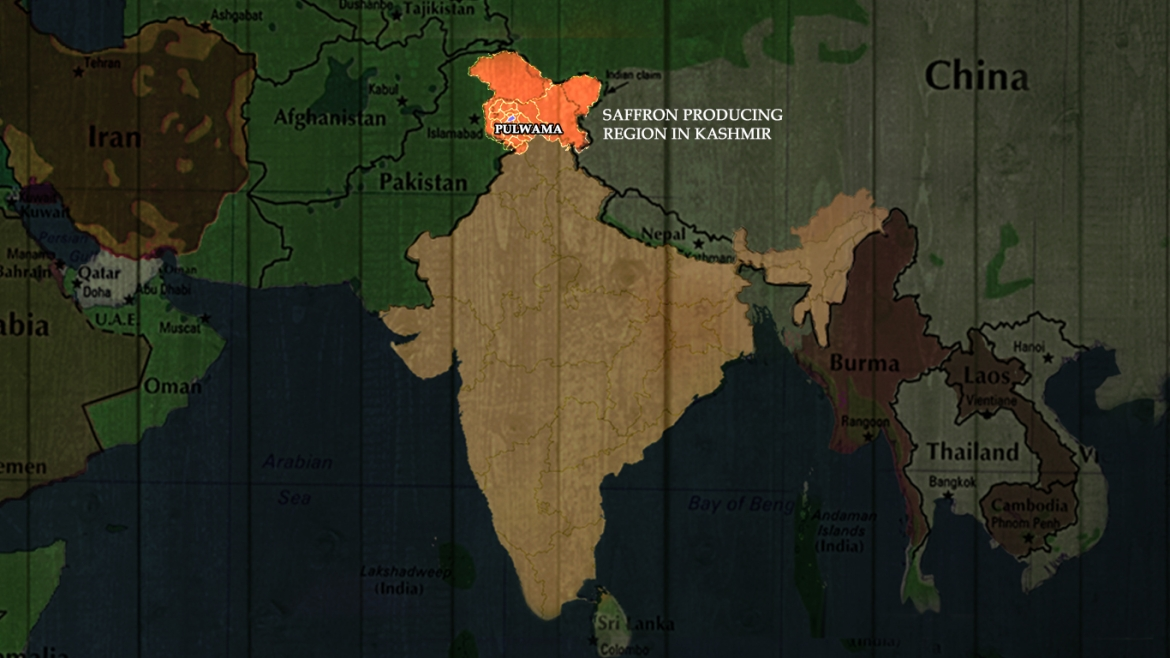 Map showing the saffron producing region of Kashmir, Pulwana