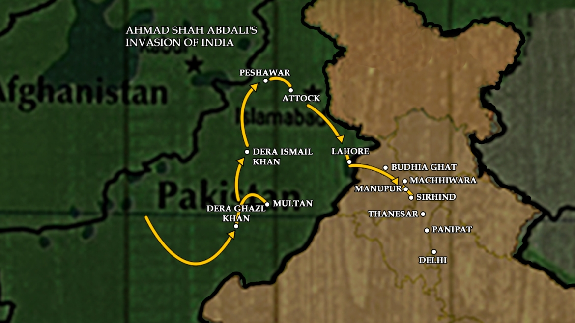 Map showing Ahmad Shah Abdali's invasion