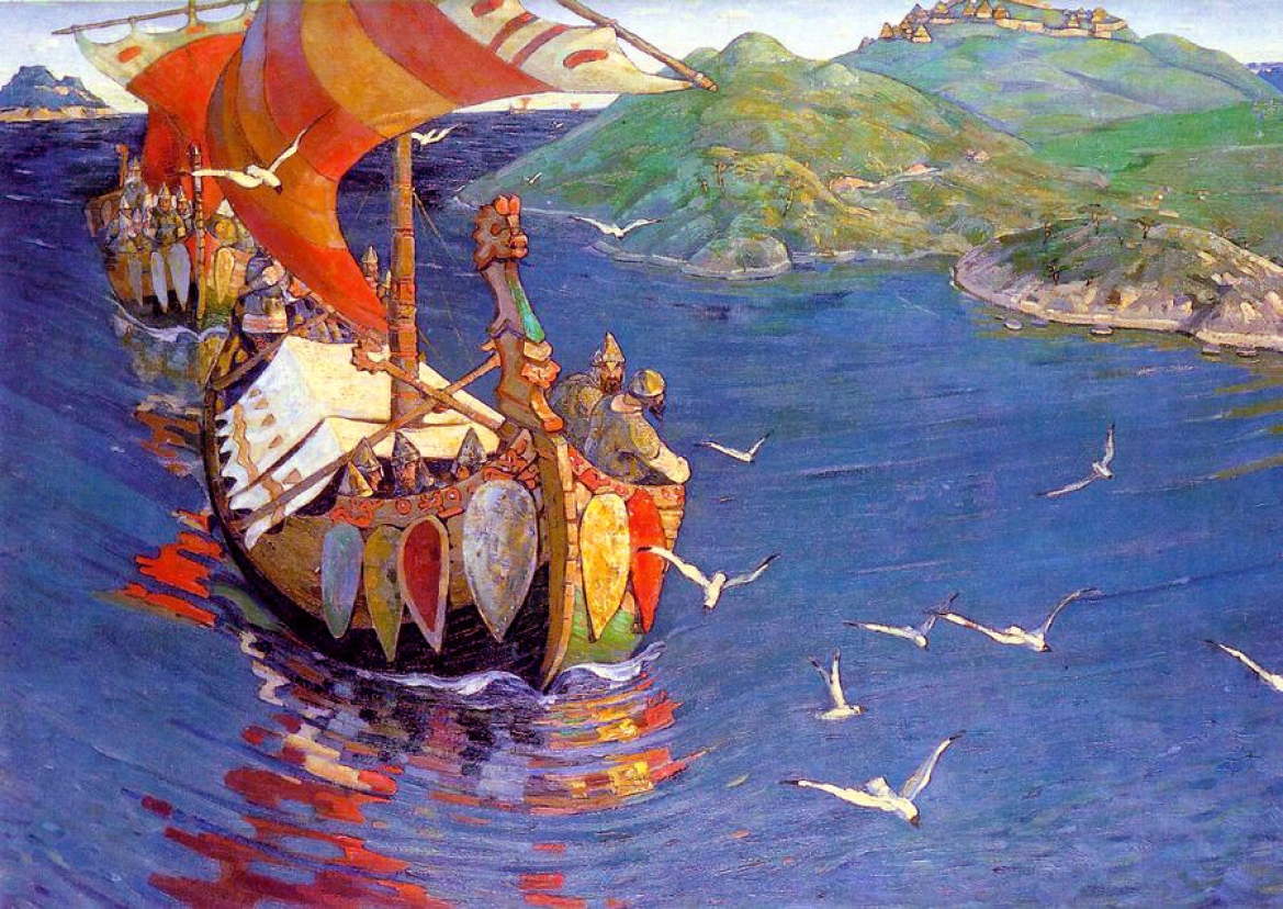 'Guests from Overseas' painting by Nicolas Roerich