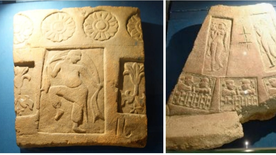 Some exquisite Tiles excavated from the  Site, dated to the 4th century CE