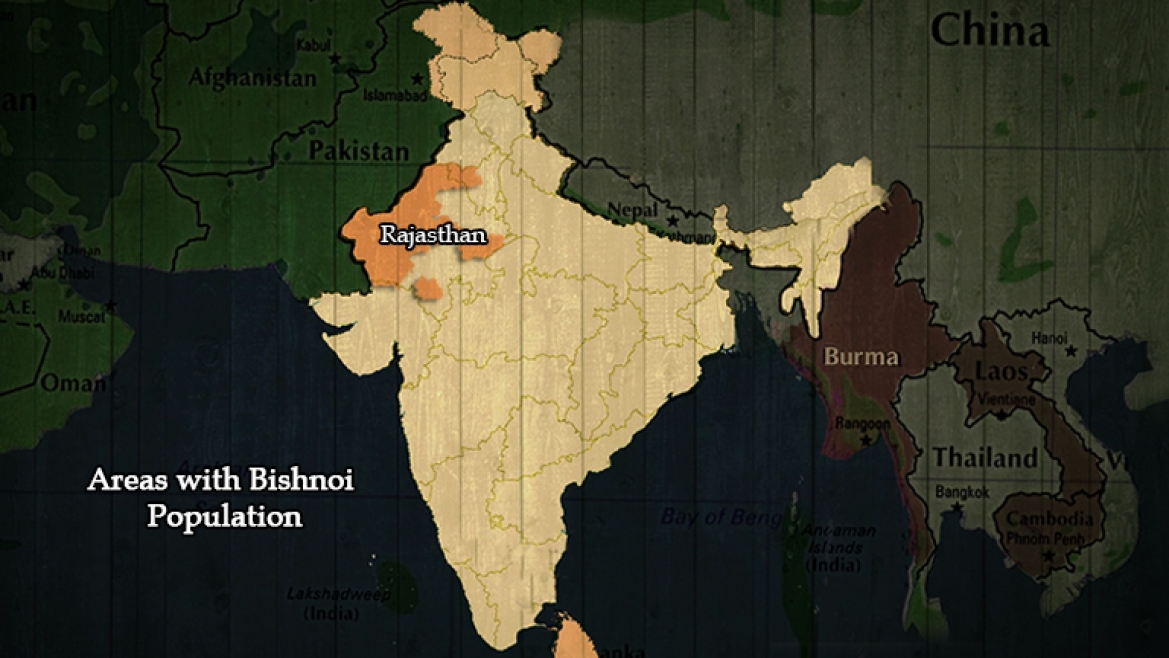Map showing the areas with Bishnoi population