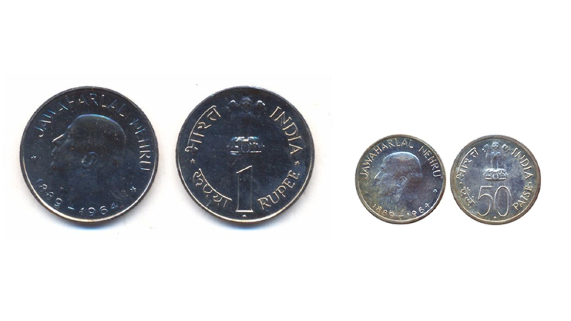 Jawaharlal Nehru commemorative 1 rupee(L)  and 50 paisa (R) coins