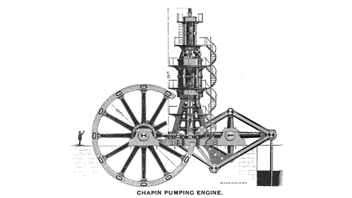 Illustration of Steam Engine used for Coal Mining