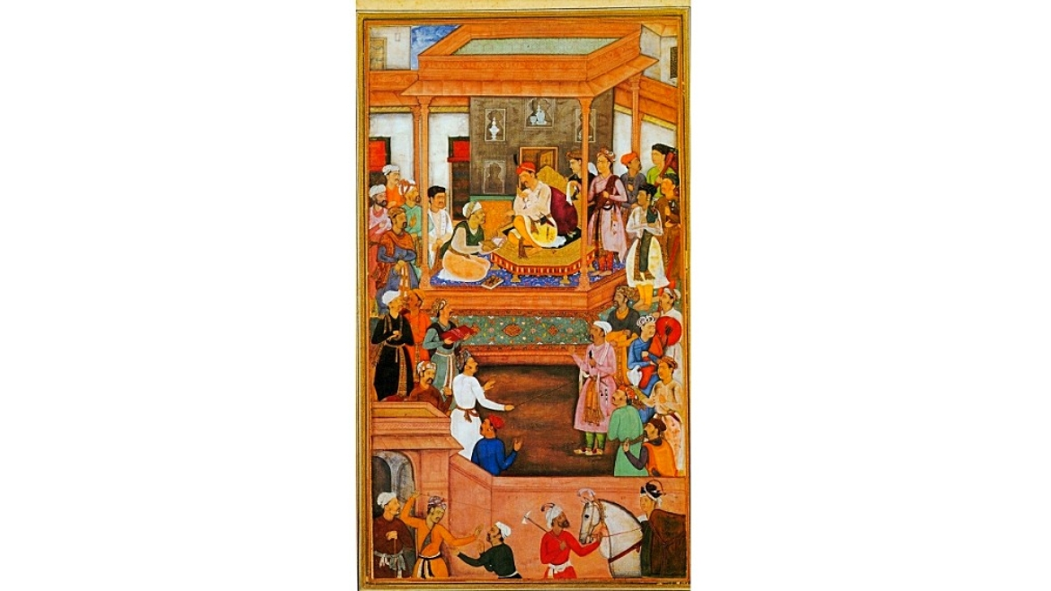 Miniature painting of Akbar in court