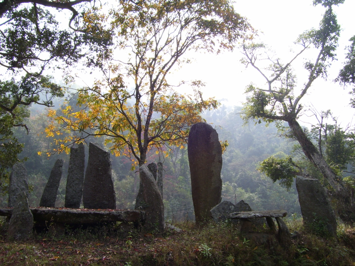 Megaliths at Nartiang which consist of the menhirs (upright stones)