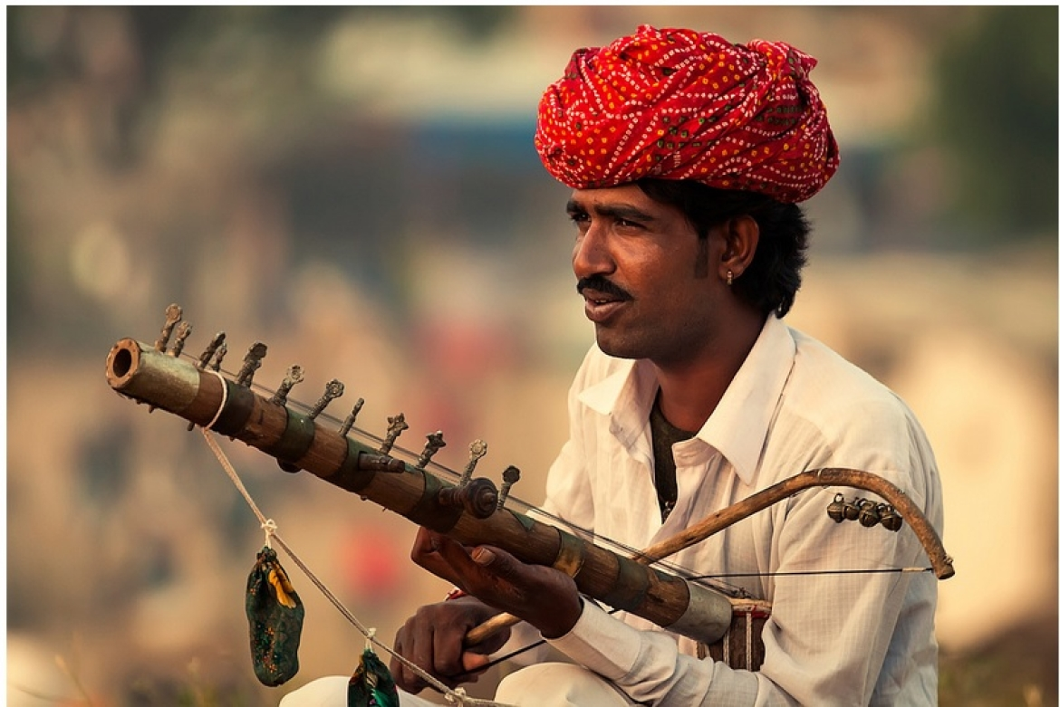 A Bhopa playing a musical instrument called Ravanhatta