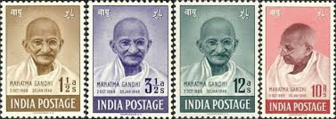 The set of four Gandhi Stamps