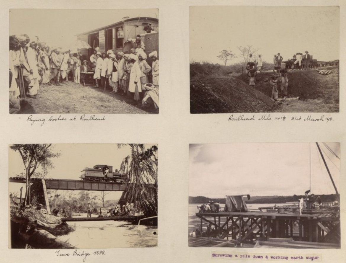 In clockwise direction: Paying the workers at the Railhead; Laying Railhead Mile 14 1/2; Tsavo Bridge; Laying a pile down using earth auger