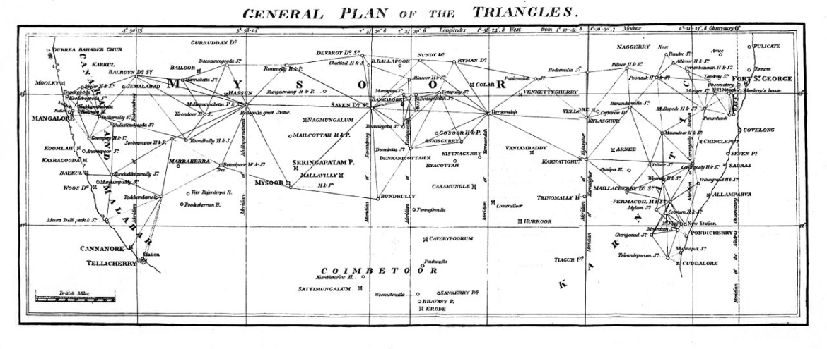 The first triangulations by Lambton across the Indian peninsula, 1811