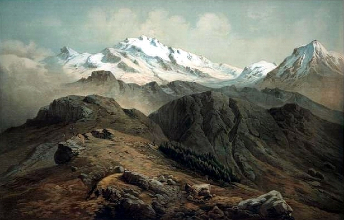 Painting of Kangchenjunga,<i> </i> as seen from the Singalila Ridge, by Hermann Schlagintweit, 1855