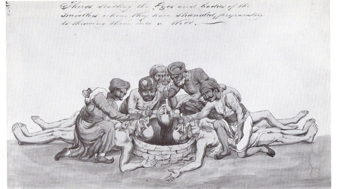 Sketch of a group of Thugs disposing of  travellers, 1829-1840