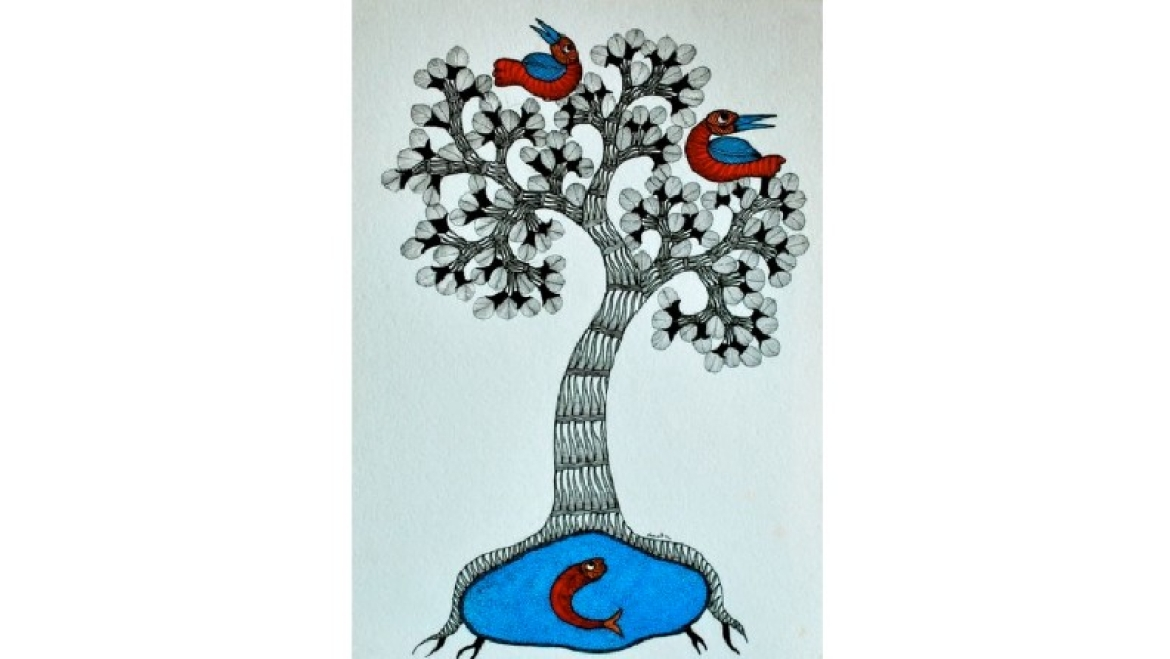 Gond Art with the 'Tree of Life' motif