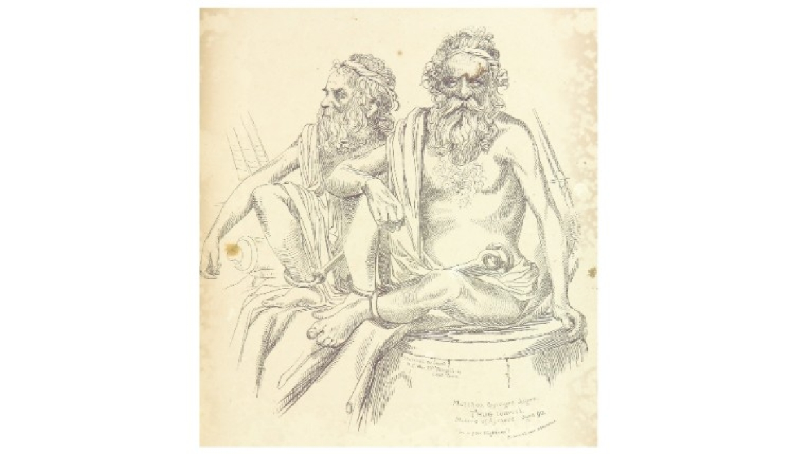 Sketch of Thug Guru Multhoo Byragee Jogee in jail (1840)