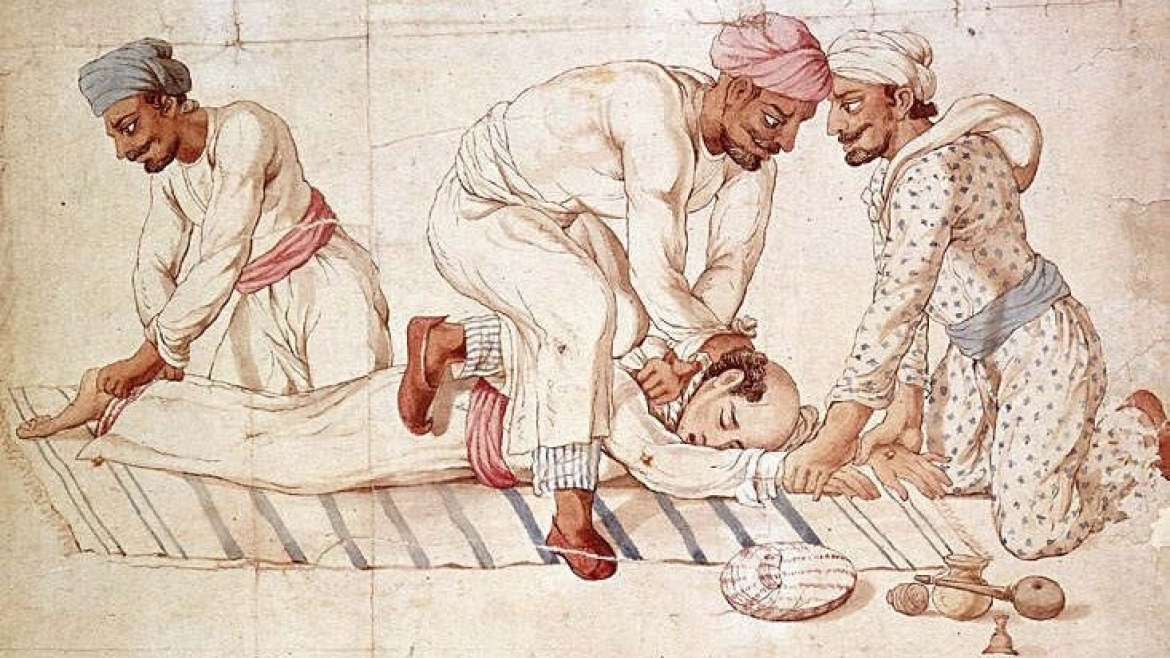 Painting of thugs strangling a traveller, unknown, Lucknow, 1837