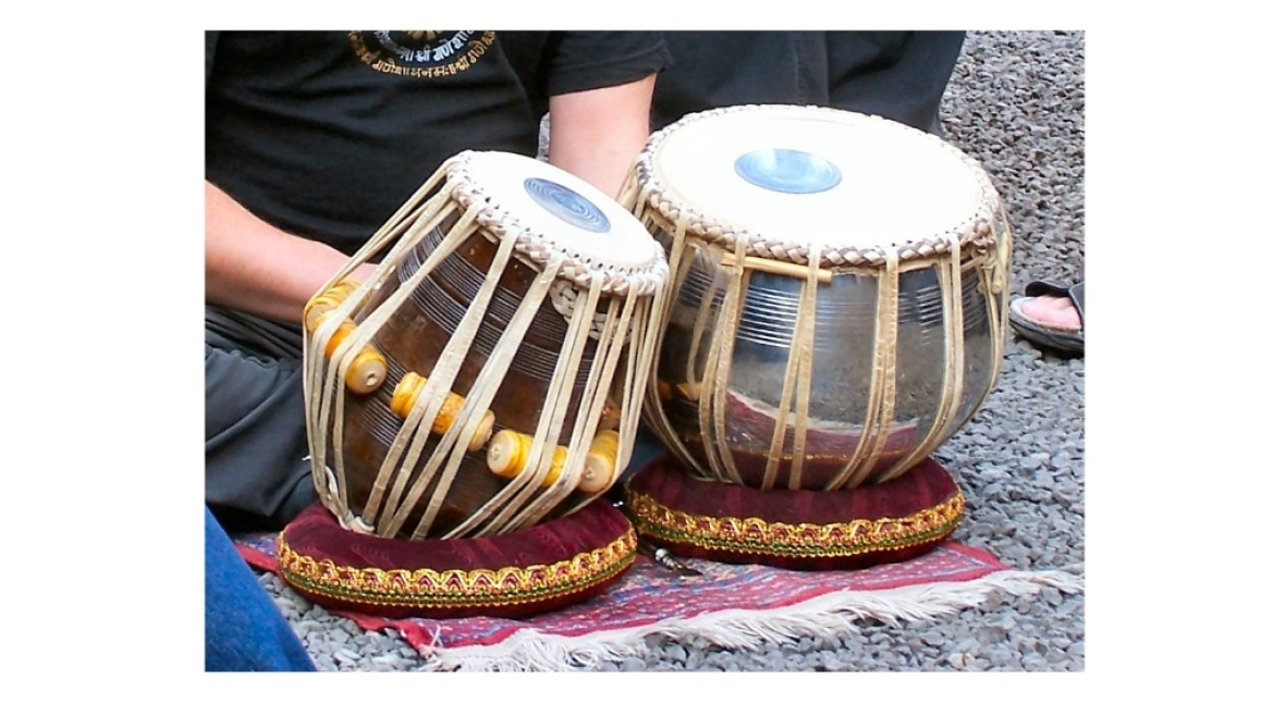 Tabla is played with fingers for tonal variation