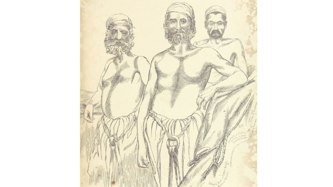 Sketch of Thug Murdan Khan  and gang, Lucknow, 1840