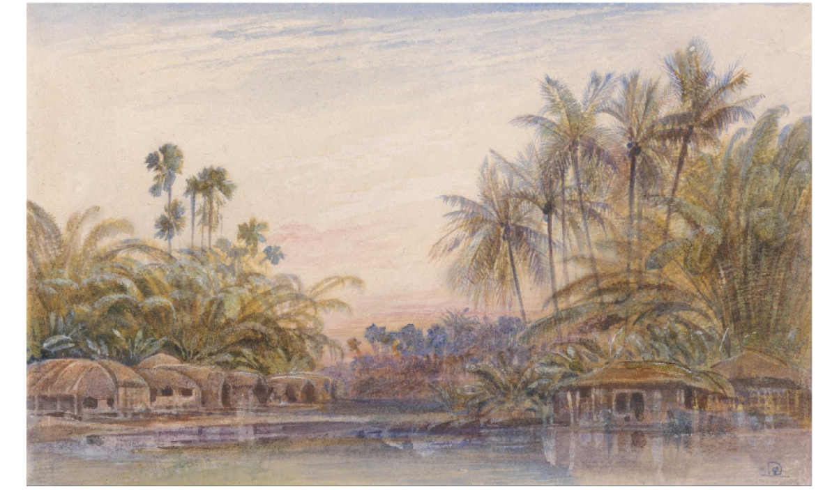 Painting of Tollygunge, Edward Lear, 1880s