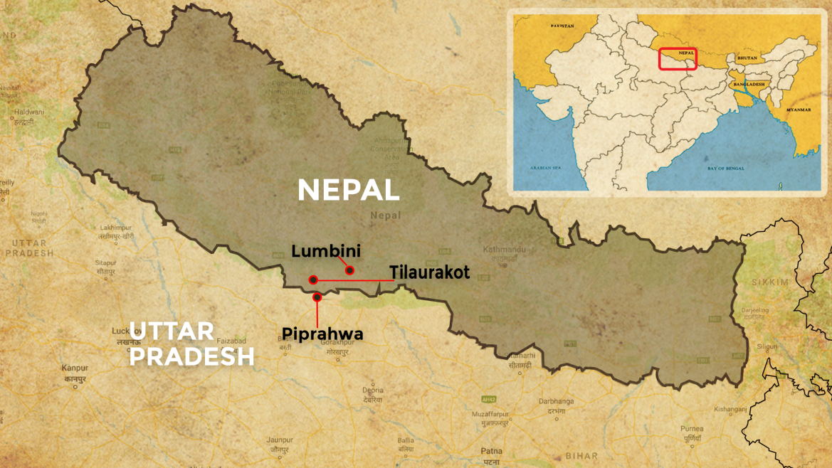 Indo-Nepal map showing Lumbini, Tilaurakot and Piprahwa