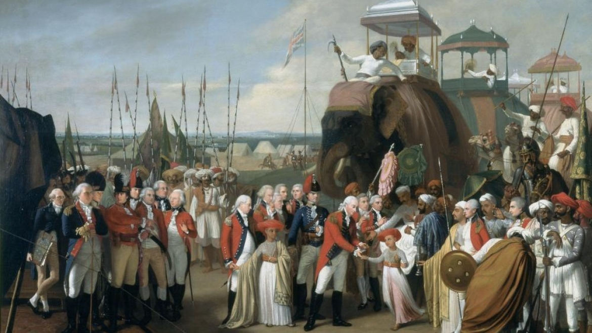 General Lord Cornwallis receiving Tipu Sultan's sons as hostages, circa 1793