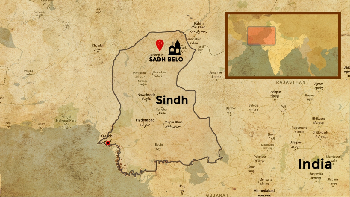 Map showing the Sadh Belo shrine