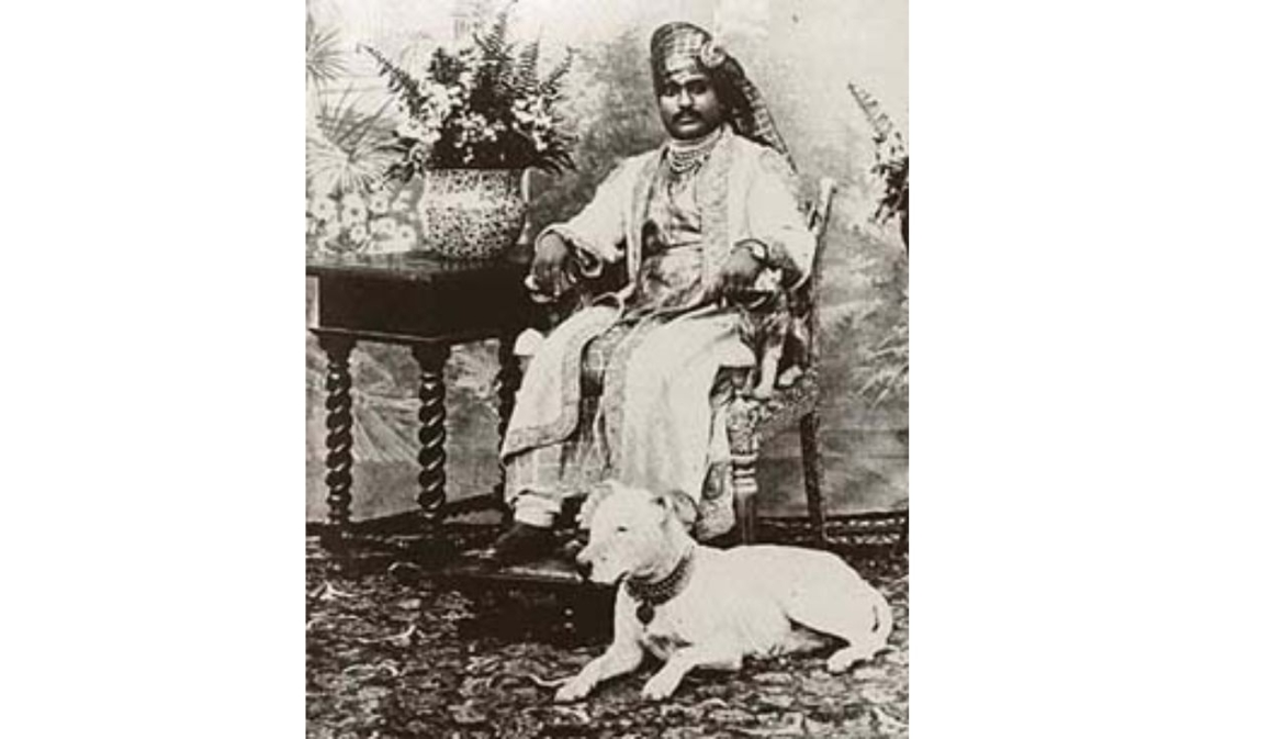Nawab Mahabatkhanji III with his dog