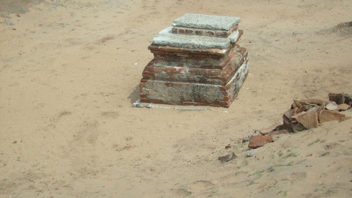 Potsherds and granite slabs unearthed during the excavation
