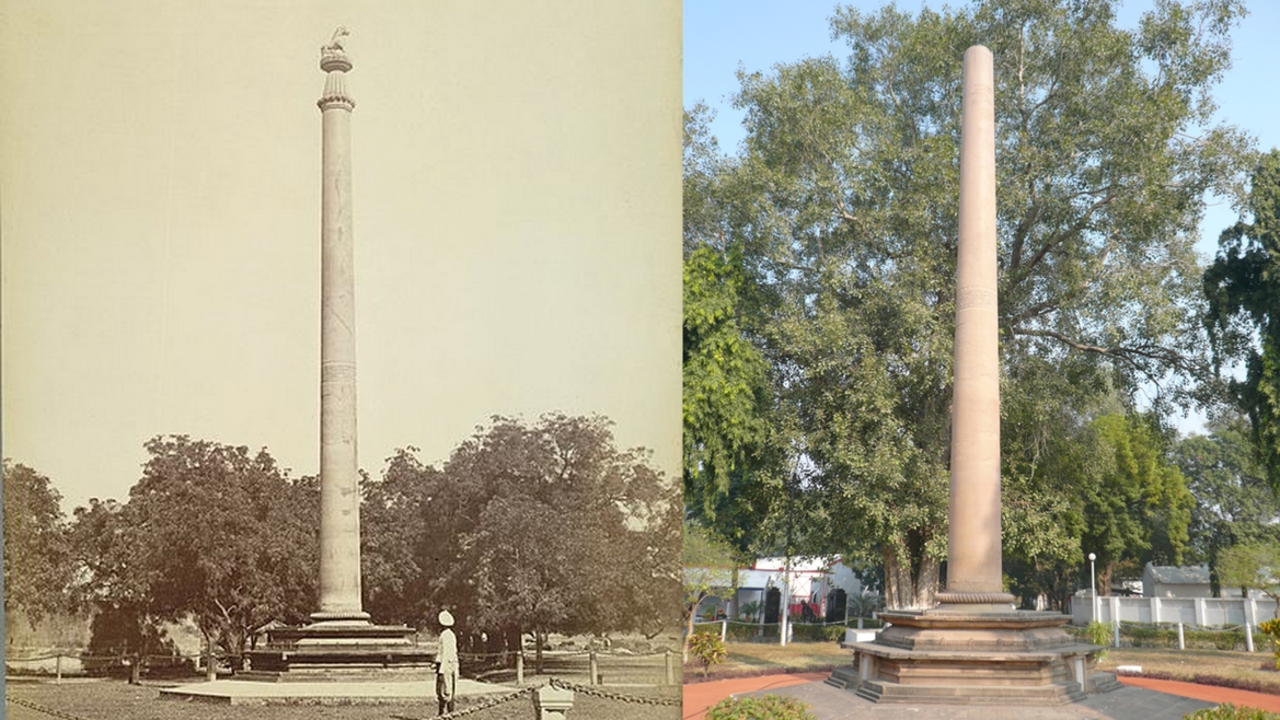 The Allahabad Pillar as clicked in 1870 (left, British Library Online Collection) and recently