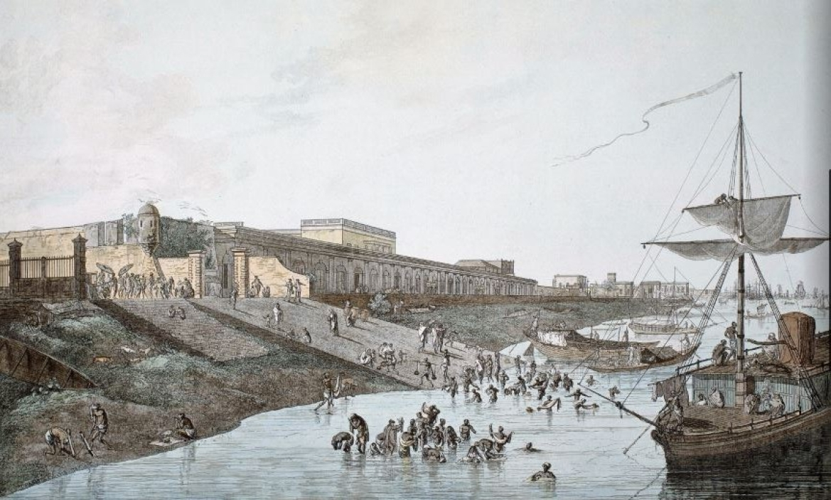 Old Fort Ghat in Calcutta where most of the new Europeans must have landed
