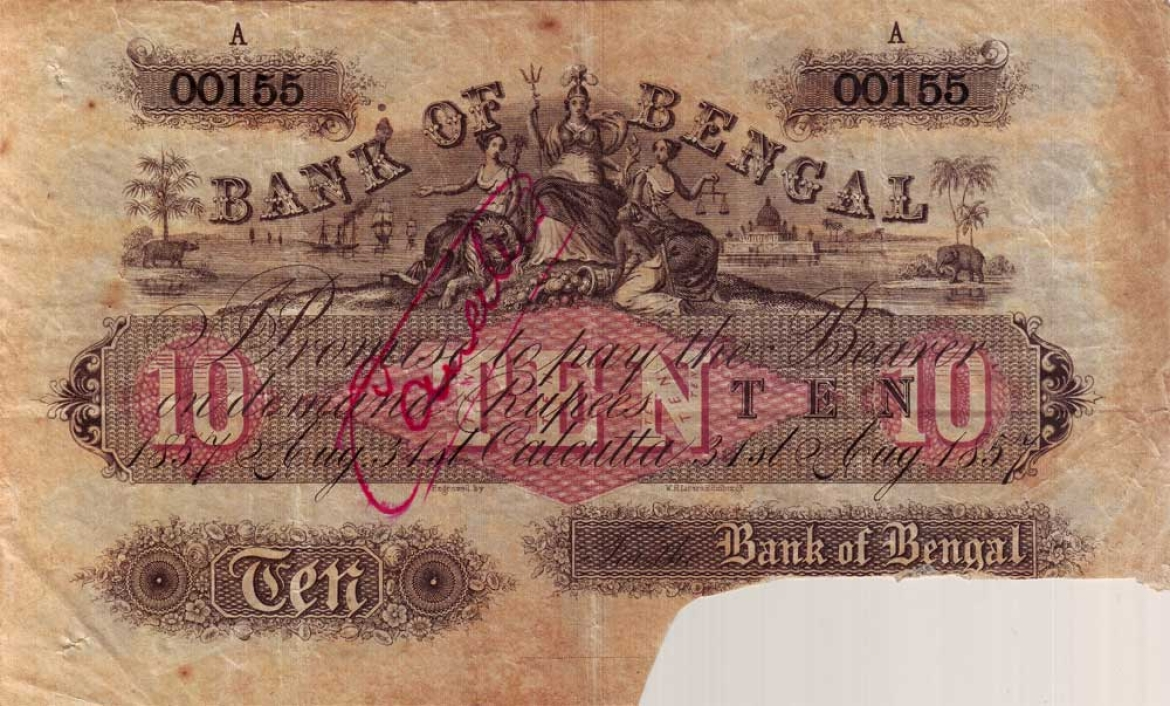 10 Rupee note of 'Britannia' series, Bank of Bengal, 1857