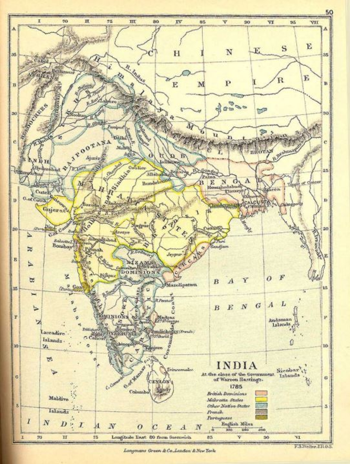 India during Hickey's time, 1795, British territories (red) and Maratha territories (yellow)