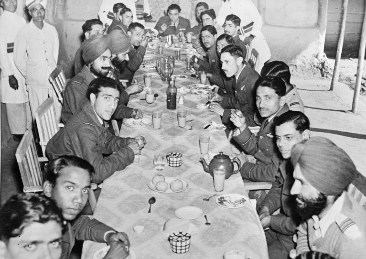 Officials of No. 1 Squadron having a meal together