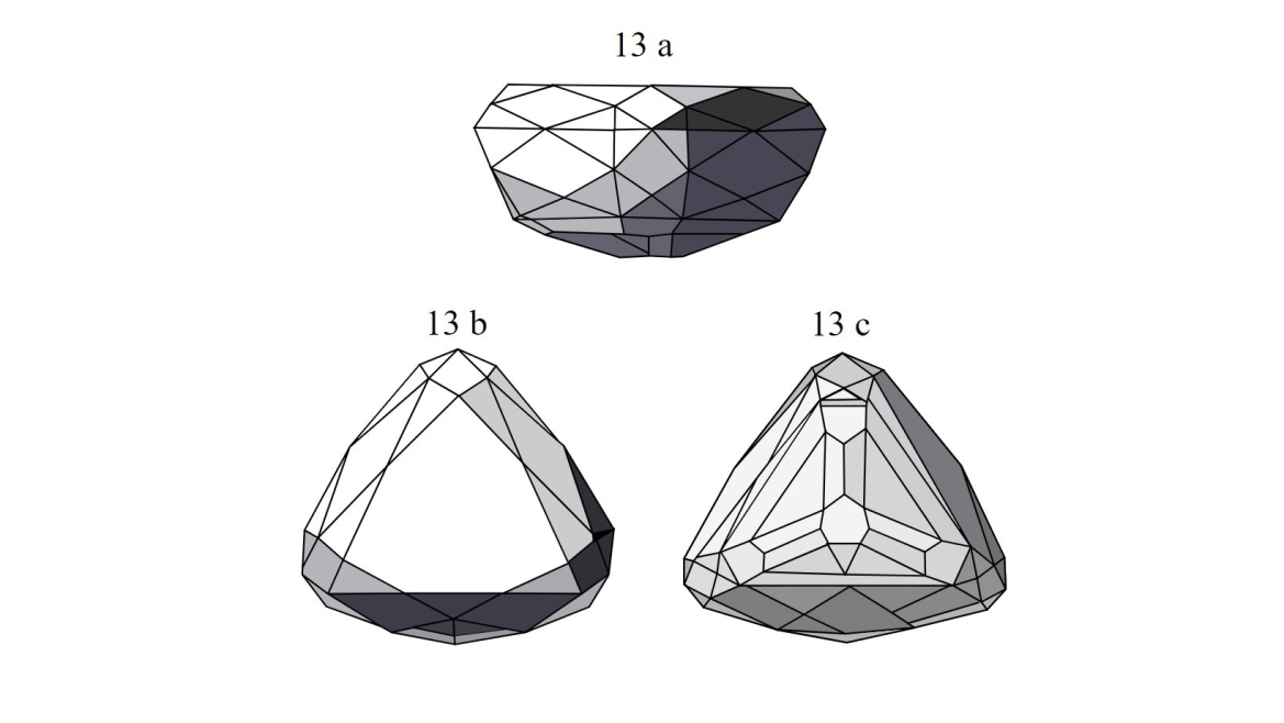 Side, top and bottom view of the diamond