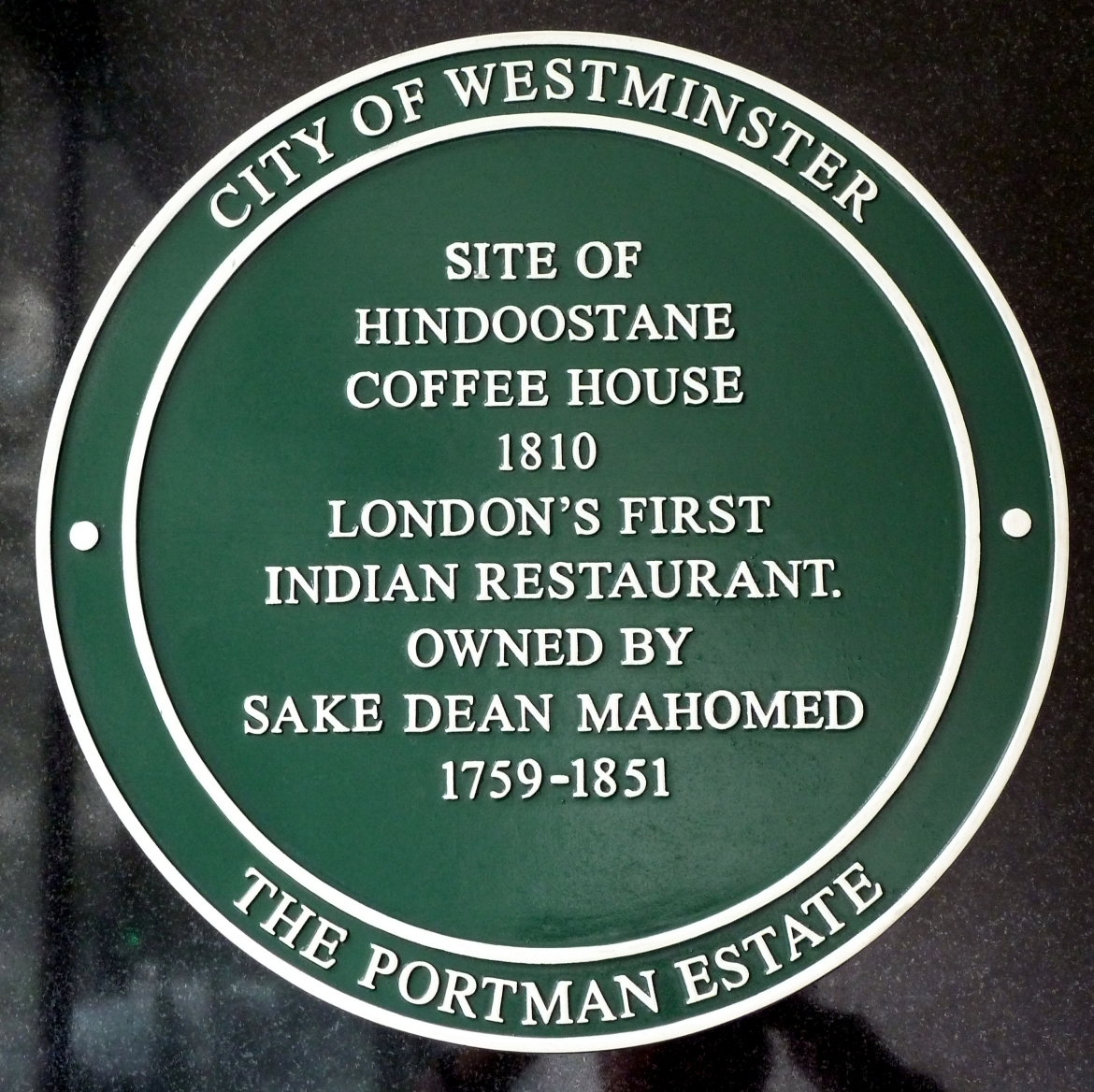 Plaque honoring Mahomed at the site of the HIndoostanee Coffee House