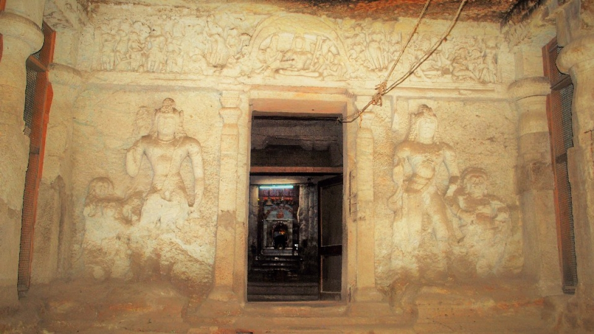 Shrine of Yogeshwari, the main deity, and sculptural reliefs of Shiva and Parvati on the entrance