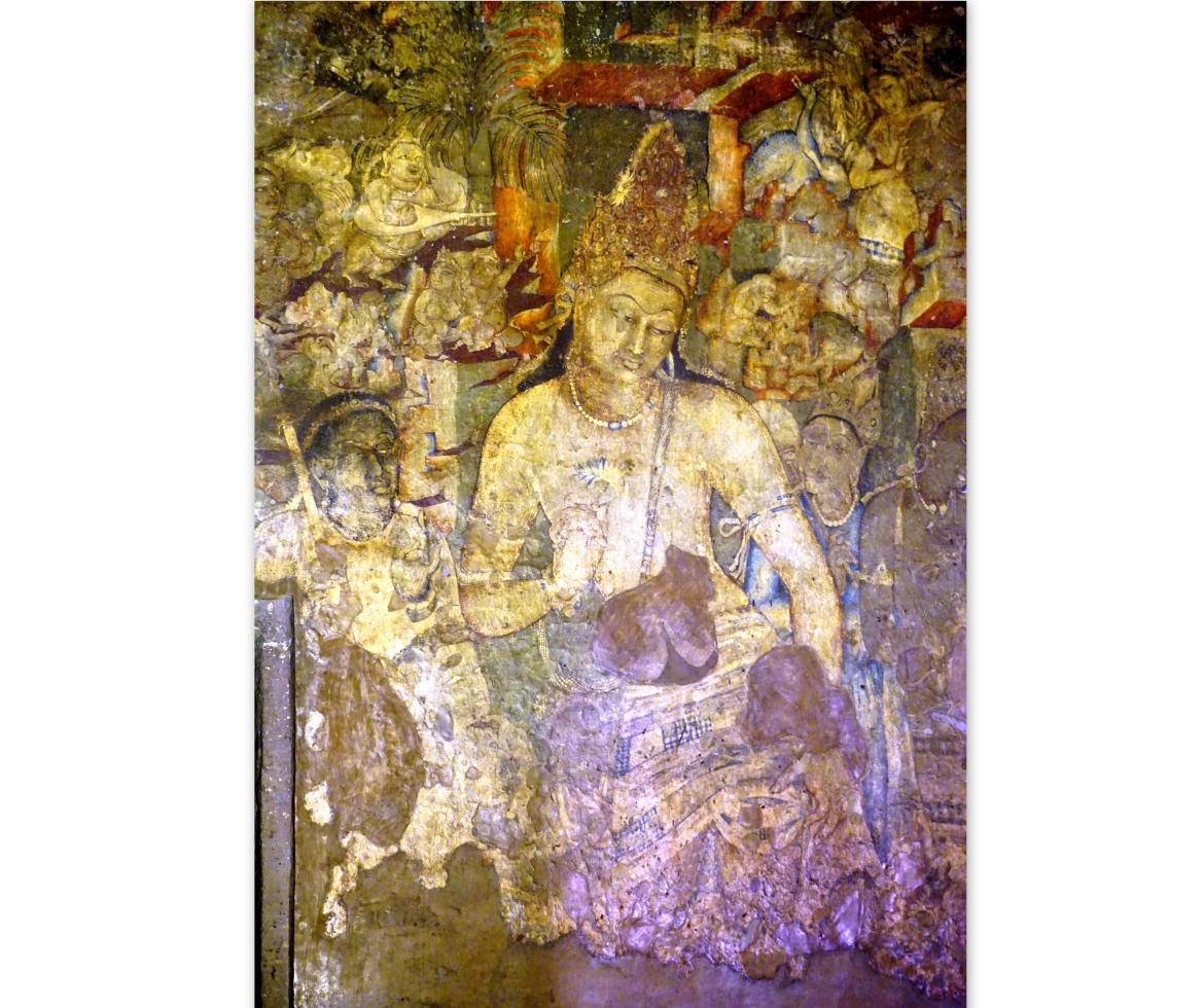 Ajanta painting - The Lady behind Padmapani has been painted with Ultramarine, Ajanta Caves