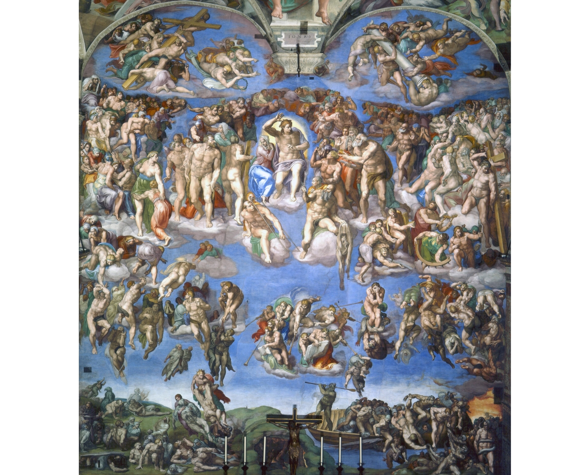 Wall behind altar, Sistine Chapel by Michelangelo, Vatican City