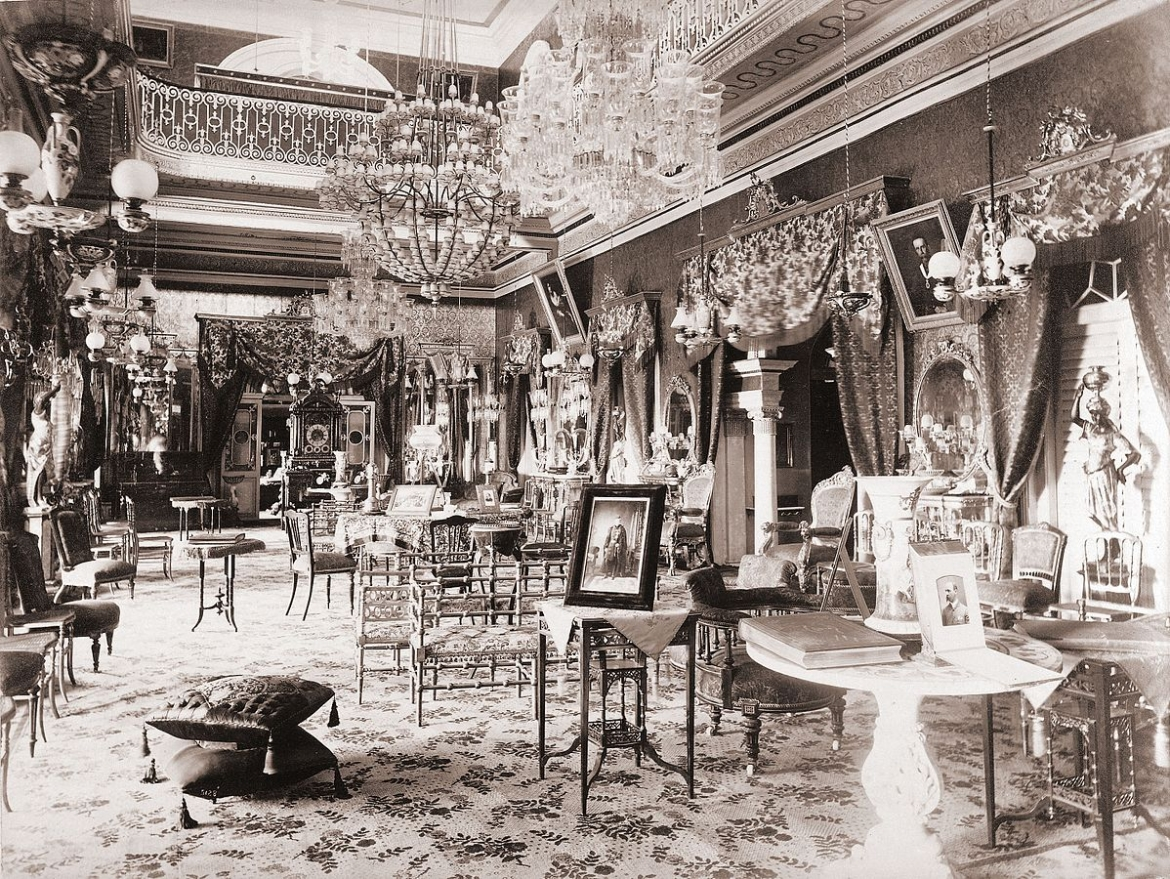 Photograph of a drawing room in the Bashir Bagh Palace in Hyderabad, taken by Deen Dayal in the 1880s