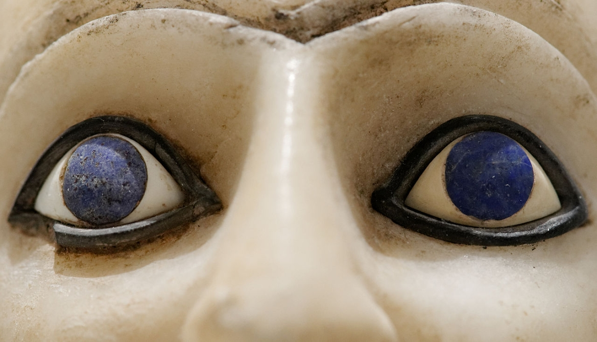 Eyes of Ebih II's sculpture from ancient Sumeria