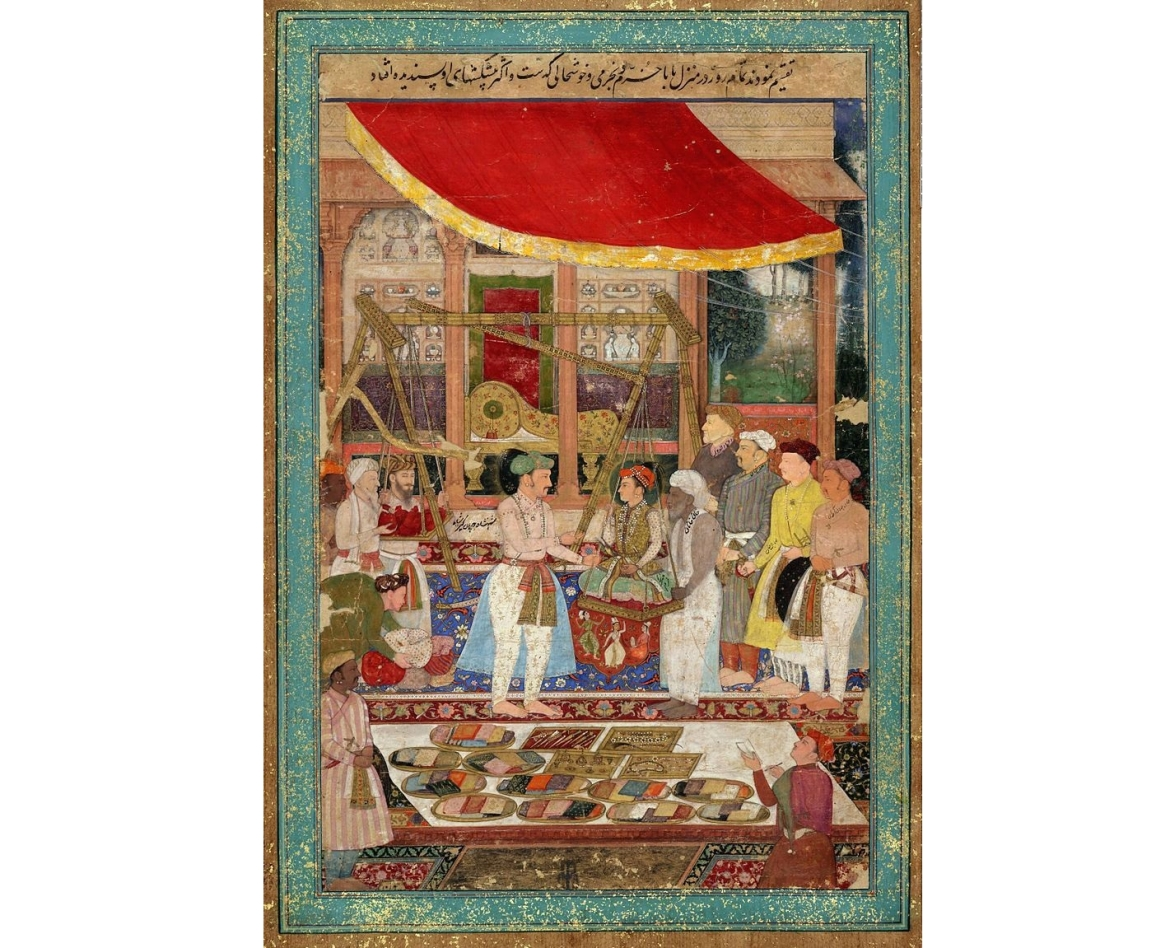 "<a href=""https://commons.wikimedia.org/wiki/File:Jahangir_weighing_prince_Khurram_(later_Shah_Jahan)_against_gold_and_silver_in_the_presence_of_Mahabat_Khan_and_Khan_Jahan..jpg""></a>Jahangir weighing prince Khurram (later Shah Jahan) against gold and silver&nbsp;"