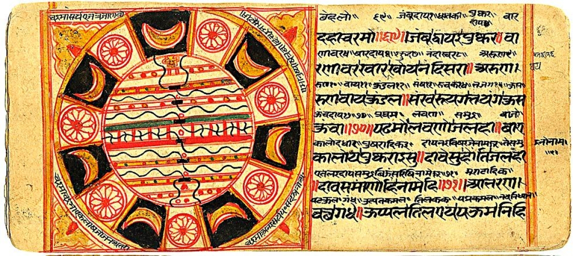 17th century CE manuscript showing a map as per Jain cosmology from text&nbsp;<i>Sankhitta Sangheyan</i>