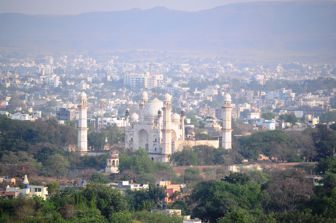 The Maqbara surrounded by the city of Aurangabad