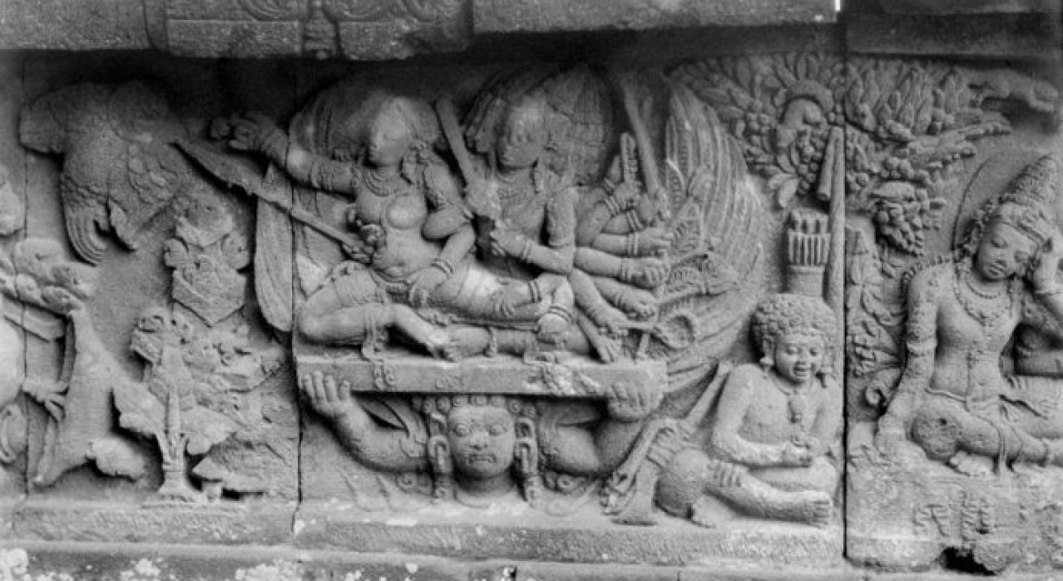 The abduction of Sita by Ravana, depicted in stone reliefs at Prambanan temple, central Java, ca. 900.