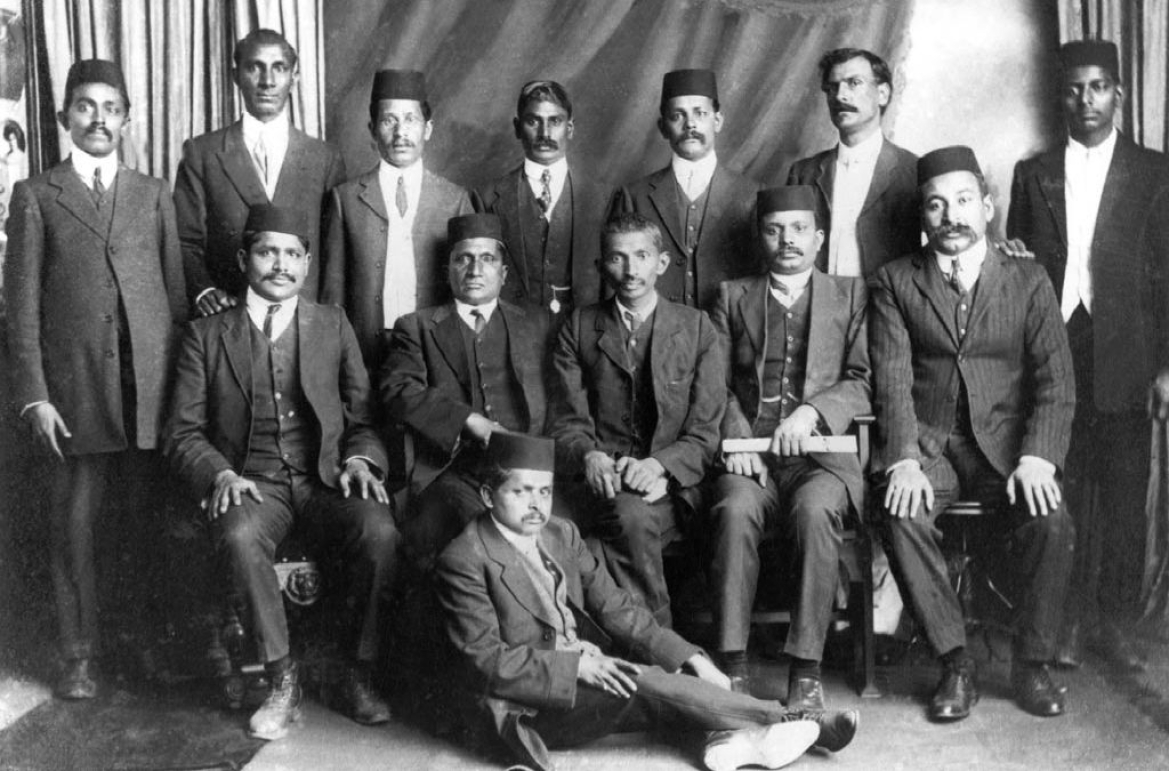 Gandhi with the leaders of the non-violent resistance movement in South Africa